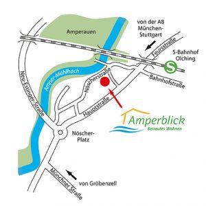 Strassenkarte / Umgebung des Hauses Amperblick